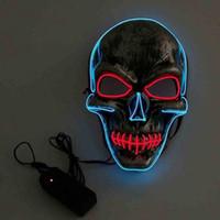 Led Хэллоуин маски светодиодных маскарадных масок Светящийся призрак череп маска танцы анфас маску Hallowmas товары для вечеринок 10pcs LQPYW1246