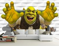 benutzerdefinierte Größe 3D-Fototapete Wohnzimmer Wand Kinder Raum 3D-Monster Shrek Bild Sofa Fernsehhintergrundtapete Vlieswandaufkleber