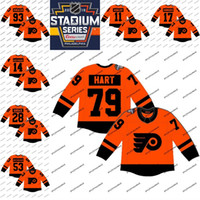 # 79 Carter Hart 2019 Stadium Series Philadelphia Flyers 28 Claude Giroux 14 Sean Couturier 17 Wayne Simmonds 93 Camisetas de hockey Jakub Voracek