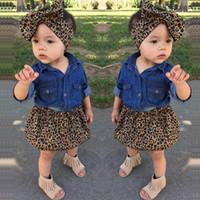 Ins costume léopard bébé filles Tenues fille 3pcs / set chemise en jean + jupe + arcs enfants Serre-tête Ensembles Filles Costumes enfants vêtements griffés A4740