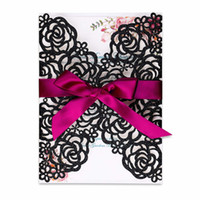 New Black Glitter Laser Cut Invitation Cards With Burgundy R...