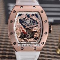 BEST NEUE RM51-01 3D Dragon Phoenix Totem Skeleton Zifferblatt Miyota Automatische Herrenuhr 51-01 Rose Gold Case Weiße Gummi Uhren Hello_watch