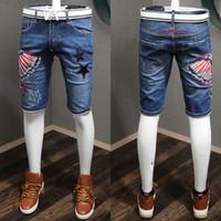 Distressed Jean Shorts Men Star bordado moda Niza calidad Denim Shorts de algodón fresco chico tamaño 28-36