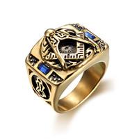 316L الفولاذ المقاوم للصدأ الشرير الرجال الدائري الماسونية الماسون الذهب لون الإصبع خواتم للذكور الأزياء والمجوهرات