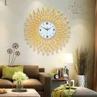 Reloj de pared 3D Big Wall Relojes de la sala 43pcs diamantes decorativo forjado de hierro silencioso del diseño moderno Reloj 60-70 cm Oro