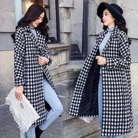 Herbst-Winter-Blends Overcoat Damen-Jacken-beiläufige lange Mäntel Plaidweibliche Mode DOB