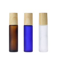10ml âmbar azul claro brilhante rolo de vidro fosco na garrafa de óleo essencial frasco de perfume dipenser de garrafa de aço bola de rolos de madeira tampa de grão de madeira