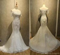 Elegant Lace Mermaid Wedding Dresses Appliques Beaded Short Sleeve Bridal Dresses Lace-up Back Bridal Dresses Fashion Gowns