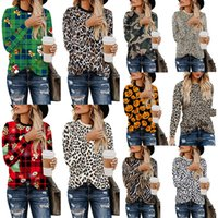 Signore Top Plaid leopardo Camicie Stampa T Patchwork zucca Designer Shirt Camouflage Tee 2019 Natale di Holloween supera le camicette Blusas