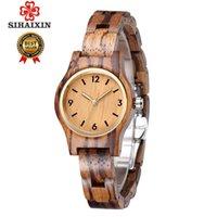 Sihaixin Kleine Holz Quarz Armbanduhr Für Frauen Analog Einfache Vintage Einzigartige Sandale Holzband Damenuhren Y19062402