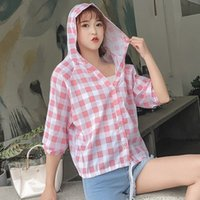 Cotton Plaid Hooded Shirt Women Blouses Long Sleeve Casual F...