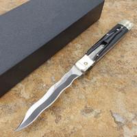 Oem mafya artı D2 dalga yılan bıçak Doğal Horn kolu cep ITA bıçak otomatik bıçağı katlama kamp bıçak 1pcs leverletto 9 inç