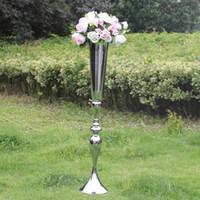 2019 Kraliyet Altın Gümüş Tall büyük Çiçek Vazo Düğün Masa Centerpieces Dekor parti Yol Kurşun Çiçek Tutucu Metal Çiçek DIY Olay Için Raf