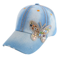 4-12 year boy girl baby hip hop cute snapback custom butterfly crystal  baseball cap fitted children kids brand casquette