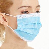 Masque de visage jetable de 100 pcs 3 couches oreille-boucle de poussière Masques de bouche couverture 3-plis non tissé anti-poussière souple plis extérieure