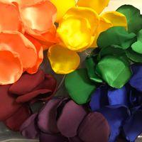Gökkuşağı Roes Yaprakları Punk-rock Düğün Saten Yaprakları Düğünler Için Yumuşak Çiçek Kız Gül Petal 100 adet / grup