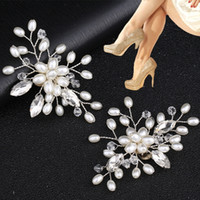 2Pcs Elegant Fashion Rhinestone Pearl Shoes Clips Flower Dre...