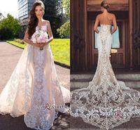 2019 robe de mariée sirène élégante train détachable bon marché bohème bohème robe de mariée plus taille personnalisée BC1777