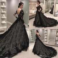 Preto gótico do casamento Vestidos V Neck Varrer Train Lace Illusion corpete Garden Country vestidos de noiva 2020 Long Sleeve vestes de mariée Custom168