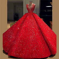 Puffy Sequined Ball Gown Prom Dresses With V-neck Saudi Arabic Long Evening Dress Sequined Appliques Robe De Soiree