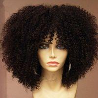 Afro Kinky Kıvırcık Dantel Ön İnsan Saç Peruk Patlama Ile Bob Dantel Frontal Peruk Kadınlar için Kısa Remy 4B 4C 130% Yoğunluk