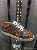 İyi Kalite Rhinestone Kristal Ayakkabı Kırmızı Alt Sneakers Çok renkli Perçinler Remix Erkekler Düz Düşük En Sneaker Düğün Parlak Ayakkabı