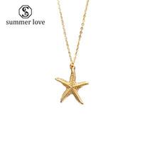2019 neue Sommer Strand Starfish Conch Kette Anhänger Halskette für Frauen Gold Alloy Cowrie Shell Halskette Modeschmuck Geschenk