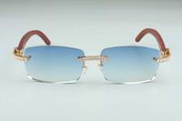 Neueste B-3524012-12 Big Diamond Sonnenbrille, Holzgläser, Quadratische Stück Brillen Mode Männer und Frauen Grenzenlose Sonnenbrille