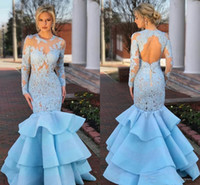 Sky Blue Mermaid Evening Dresses Lace Long Sleeve Caftan Ruf...