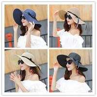 واسعة بريم مرن طية القبعة قبعات الصيف للمرأة خارج الباب وقاية من الشمس قبعة من القش المرأة شاطئ هات BD0041