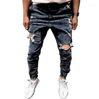2020 Designer di lusso foro moda jeans Skinny lungo blu matita uomini pantaloni casual Abbigliamento Slim Mens