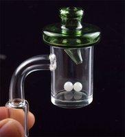 4 mm Flat Top 45 à 90 degrés à quartz Banger Avec Cap Terp Carb en verre de couleur perle de 10 mm 14 mm 18 mm Quartz clou pour le verre Bongs