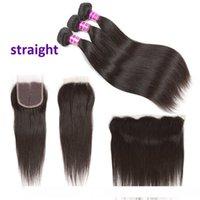 Une vague de corps brésilien Non traité Vierge cheveux humains 3 Bundles avec Frontal Deep Water Kinky Curly droite Remy Hair Extensions et Clo