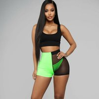 Fashion Sexy Women' s Mesh Shorts High Waist Color Patch...