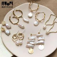 Designer Ohrringe natürliche Frischwasserperlen Ohrstecker Barock-Perlen-Ohrringe Geflochtene Ohrringe für Frauen-Geschenk Handgemachte Geschenk