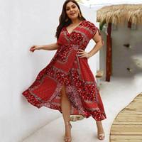 2bc45e5fb 2019 Summer Boho V-neck Big Bohemian Fat Plus Size Elegant Party Dresses  Female Sexy Midi Dress For Women C19041101