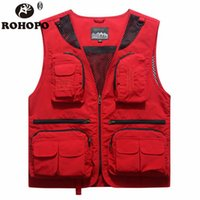 ROHOPO Quick Dry Vest Men 2019 Casual Pockets Sunscreen Slee...