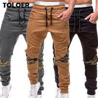 Мужчины штанах Осень Повседневная Military Tactical Pant Мужские Sweatpants Joggers Брюки Хлопок Лоскутное Army Running Брюки
