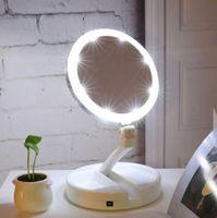 Espejo de maquillaje con luz LED portátil Vanity Compact Make Up Espejos de bolsillo Vanity Espejo de mano cosmético 10X Lupas Nuevo