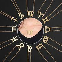 Персонализированные Двенадцать Созвездий Ожерелья Женщины Колье Ожерелье Гороскоп Зодиака Дева Овна Козерог Весы Счастливый Подарок