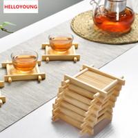 1pc Natural 100% de madeira de bambu Bandejas For Tea Bandejas 7cm * 7cm vendas criativa chinês Côncavo Copa Mat Hot