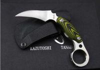 Kazutoshi couteau griffe fantôme Tanabe D2 60 HRC karambit extérieur Couteau de chasse de survie Camping fixe Lame de couteau 1PCS freeshipping Adru