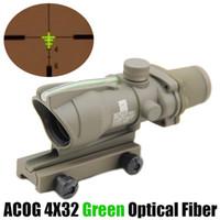 전술 ACOG 4x32 섬유 광학 범위 녹색 조명 소총 범위 20mm 레일 마운트를위한 실제 녹색 섬유 광경