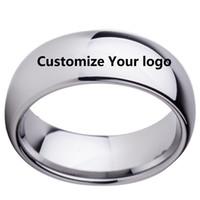 Nome personalizzato anniversario di matrimonio Data Loghi 8mm nero / argento / nero oro rosa anelli di tungsteno personalizzare gioielli per uomo donna C19041203