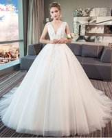 White Stunning Ball Gown Wedding Dresses V Neck Appliques Si...
