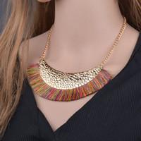 Nappa collana per le donne Big Ethnic Boemia lungo Choker Normativa collana Boho annata di modo punk N1461 gioielli