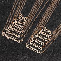 Collar colgante collar pendiente de la aleación de oro de la vendimia de las mujeres simples cartas doce constelaciones de Declaración de las mujeres accesorios de la joyería regalo