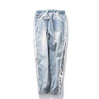 Toptan-Yu kube Artı boyutu 5XL payetli Jeans Kadınlar Denim Pantolon Anne Jeans Kadın Elastik Bel Ayak bileği Boyu Pantolon Mujer