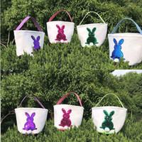 Meerjungfrau Pailletten Ostern Korb Leinwand Kaninchen Taschen Bunny Aufbewahrungstasche DIY niedlichen Ostern Geschenk Handtasche Kaninchen Ohren setzen Ostereier Körbe