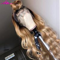 1BT27 Ombre Vücut Dalga İnsan Saç Dantel Peruk Kadınlar Için Brezilyalı Remy İnsan Saç Peruk Pre Pretted Ağartılmış Konts Ali Coco